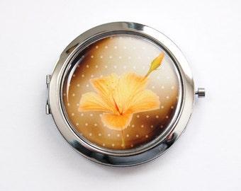 Flower compact mirror, Yellow flower, mirror, purse mirror, compact mirror, Flower, Floral, pocket mirror (3408)