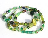 Green Glass Bead Necklace Handmade Greenery