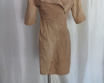 Vintage 80s dress womens size S M steampunk studded tan brown mustard short sleeve summer zip up