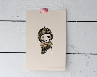 Acorn Girl, Gocco Print, Hand Tooled Gold Foil Illustration, Hand Printed, Screen Printed, A6 Size, Limited Edition Gocco Print by mooshpie