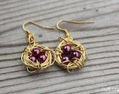 Deep Purple // Bird's Nest Earrings In Gold Wire