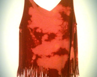 Tie dyed fringed tank