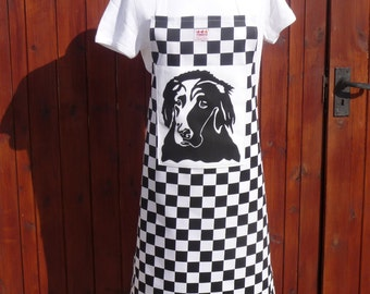 Black Flat Coat Retriever Apron - screen printed by hand on a black Chefs Check ground
