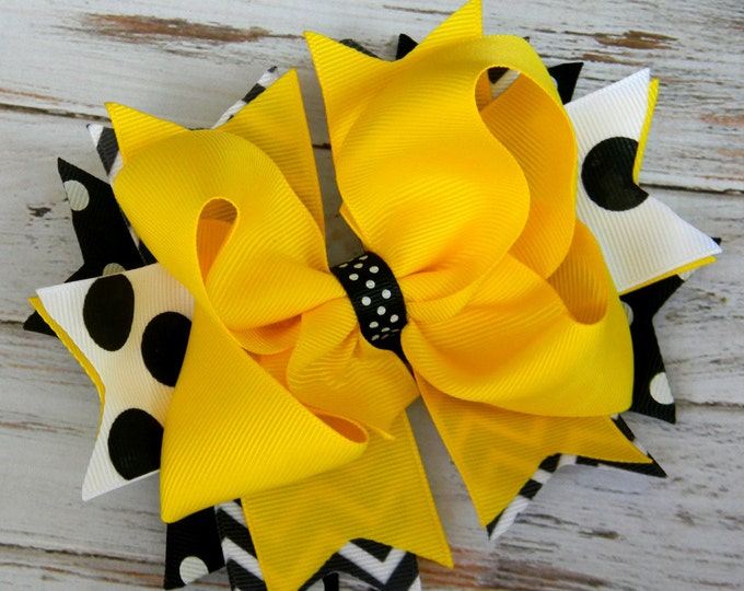 Girls Hair bow Black, White, and Gold Stacked hair bow, Game Day Hair Bow