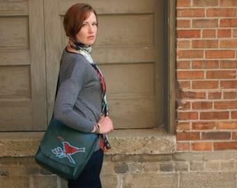 Messenger Bag Woman Purse Satchel Chirp 3 Green Pink Burgundy Blue Bird Flowers
