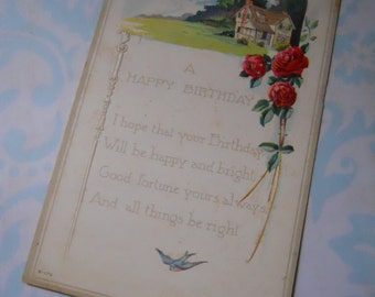 Sweet Antique Unused Birthday Greetings Victorian Post Card