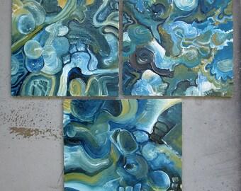 Contemporary art - contemporary painting - zen art - small painting - triptych - contemporary art - Mindmaps I-III - oil painting - fine art