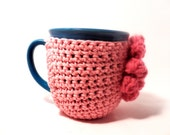 Crochet cup cozy coaster country Pink and light Raspberry puff flower Mug cozy coffee cup cozy Spring and Summer colors