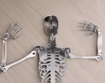 Mirror Bones - Elegant Silver Laser Cut Skeleton Halloween Decoration