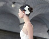 Handmade Chiffon Bridal Hair flowers, set of two Ivory silk with Pearl accents.