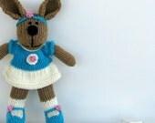 Cute Bunny Girl Toy - Spring Bunny - Hand Knit Toy Bunny Rabbit - Stuff Animal Plush Doll - Child Toy - Knit Toy - Kids Toy - Vanessa