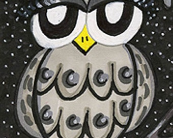 Funny Owl Print, Grey Owl Art, Whimsical Owl, Owl Wall Decor, Kids Wall Art, Nursery Decor, Grey And Black, Little Grey Owl by Paula DiLeo