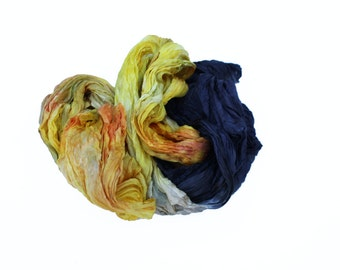 yellow silk scarf - Byzantine Secret -  yellow, orange, brown, black silk scarf.