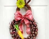 PRE-ORDER - One LEFT!!!!! Pink Pip Berry Bunny - Easter Bunny Wreath - Spring Wreath - Summer Wreath - Easter Door Decoration