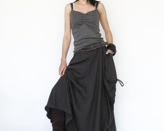 NO.123 Charcoal Cotton Jersey Mega Pocket Maxi Skirt