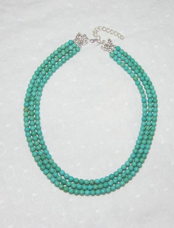 blue green turquoise beaded necklace multi strand by luvabead