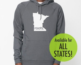 All States and Washington DC 'Roots' or 'Made' American Apparel Pullover Hoodie - Unisex Size S M L XL XXL