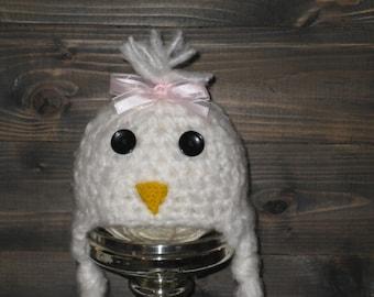 NEWBORN Chicken Easter Crochet Hat Pink Bow