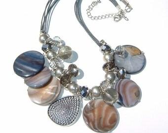 Sparkling Ash and Taupe Gray Mother of Pearl and Crystal Beads with Alloy Pendant Necklace
