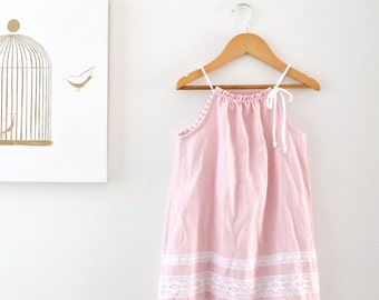 Baby Dress-Pink Linen Girls Dress-Christmas Dress-Handmade Children's Clothing by Chasing Mini