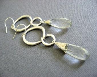 Clear quarts Dangling Earrings, silver long earrings, infinity earrings, Infinite love, long earrings, Long silver earring
