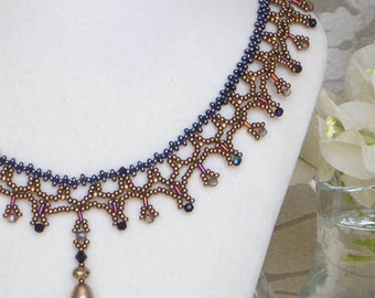 Autumn Cooper Beaded Necklace with Almond Pearl Drop