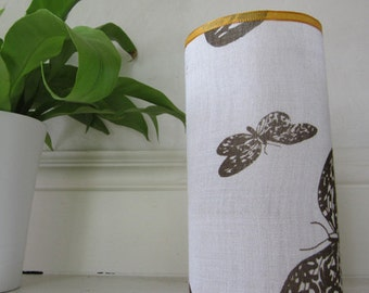 Butterfly Candle Shade - Black Butterflies Printed On White Cotton With yellow ribbon Edging