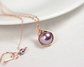 Rose Gold Purple Pearl Necklace Wire Wrapped Jewelry Handmade Rose Gold Necklace Swarovski Pearl Necklace Lavender Pearl Necklace Bridal
