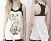 Black and white tunic - halter racer back digitally printed organic jersey shirt minimal modern - made in america