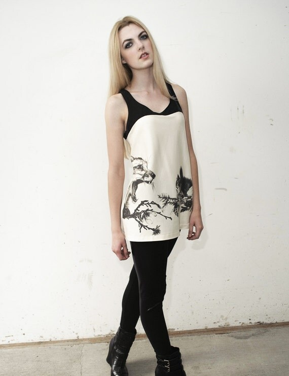Fox and Squirrel tunic - graphic black and white drawing - minimal modern clean simple shirt - custom sizing