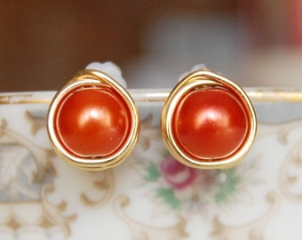 Burnt Orange Earrings , Fall Earrings , Orange Pearl Earrings , Wire Wrapped Studs , Bridesmaids Earrings