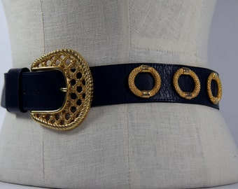 80s Womens Wide Leather Belt Big Gold Hardware Navy Blue Gold Textured Leather Big Over Sized Gold Rings and Belt Buckle Made in the USA