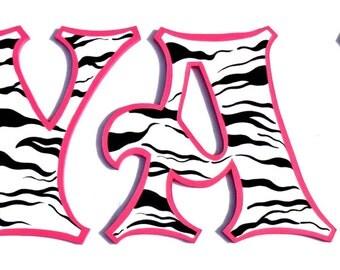 Hot Pink Zebra Print Painted Letters, Zebra Print Nursery Letters, Zebra Alphabet Letters, Zebra Nursery, Zebra Stripe Photo Prop Letters