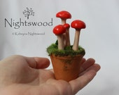 OOAK Miniature Pot with Toadstools - nightswood