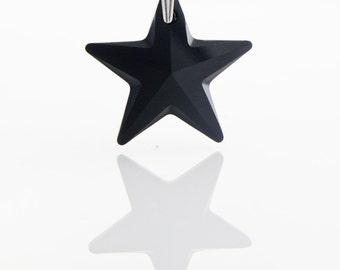 Black Star Necklace, Jet Black Swarovski Crystallized Star pendant on Sterling Silver 925, Black Crystal pendant, Rockstar black pendant