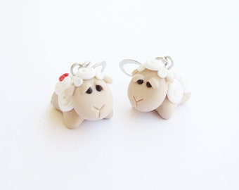 Baby Lamb Earrigs, polymer clay