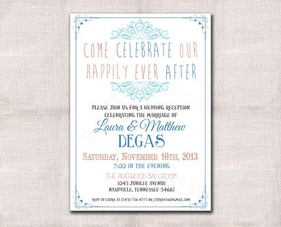 After Wedding Invitation Wording: Wedding Reception Celebration After Party Invitation Custom