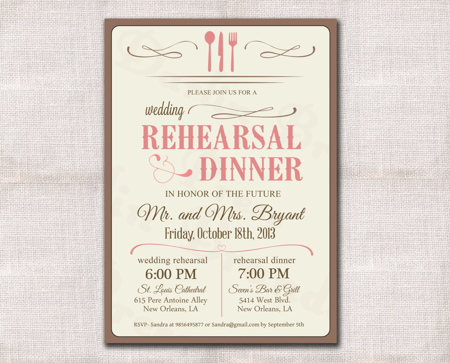 It's just an image of Accomplished Printable Rehearsal Dinner Invitations