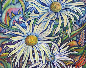 Limited Edition Giclee Canvas Print 8x10 - Wild Daisies - Fine Art Colorful White Flowers Signed