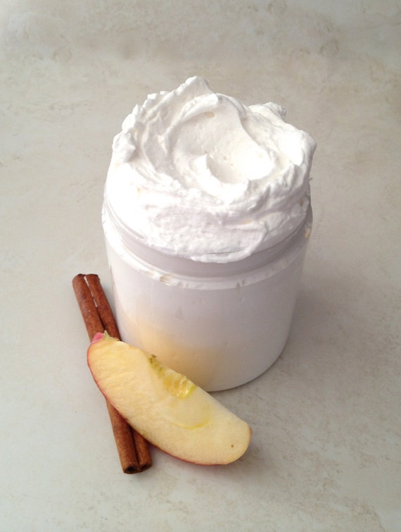 Spiced Apple Cider Scented Whipped Shea Butter - 8 oz. Rich Moisturizer, Intensive Body Butter, with Shea and Coconut Oil