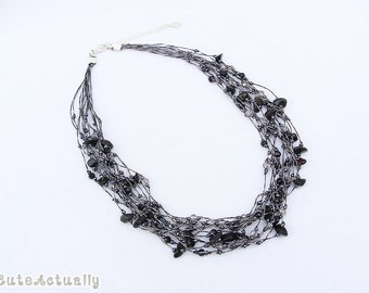 Black stone necklace with crystal on silk thread, short necklace, black necklace, multistrands