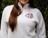 SALE-Monogrammed Quarter Zip Pullover available in sizes Small-XXLarge-Monogrammed Pullover Sweatshirt, Bridesmaid Gift, Monogrammed Gifts