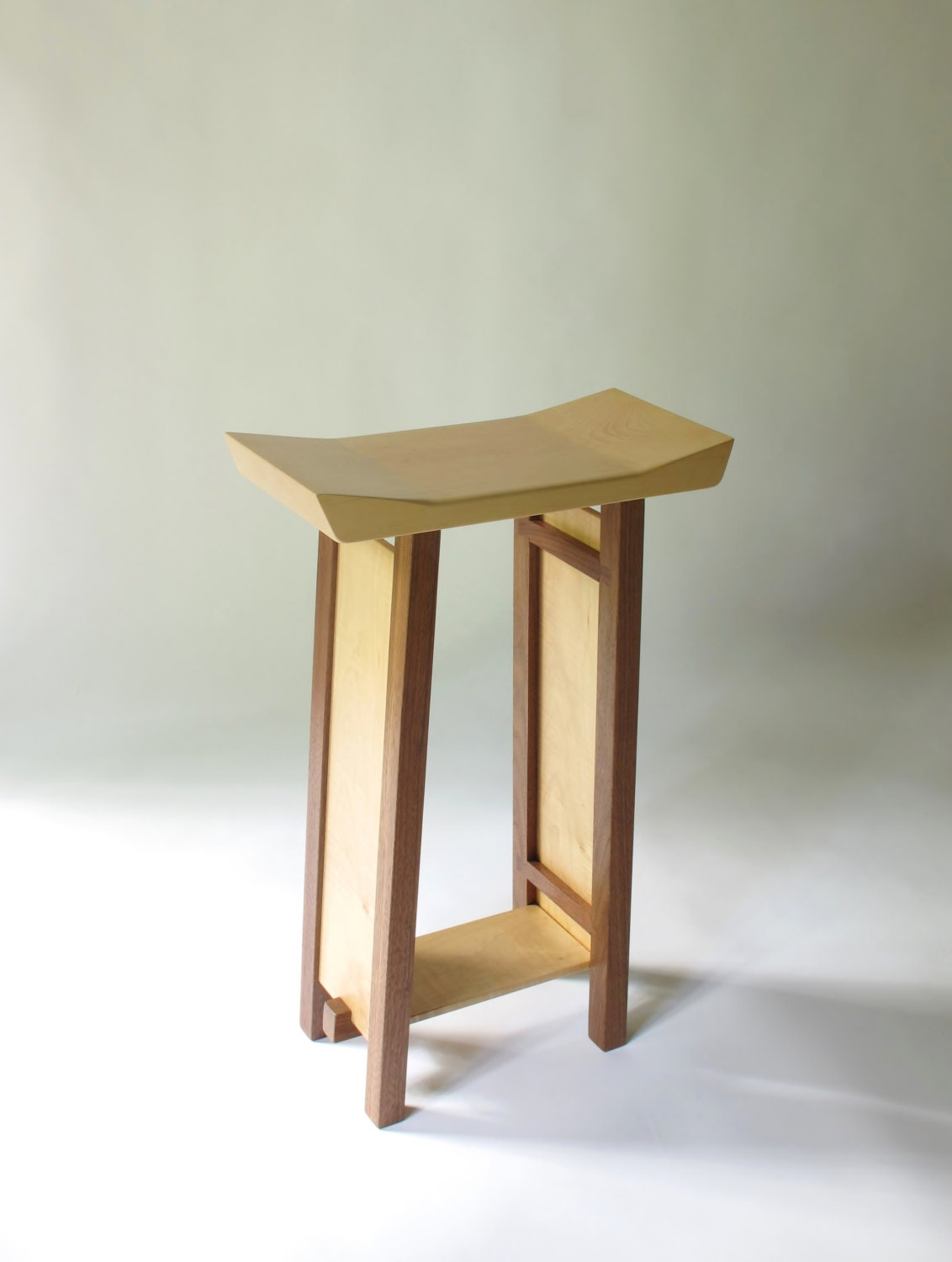 Modern Wood Bar Stools ~ Bar stool modern zen wood furniture handmade custom
