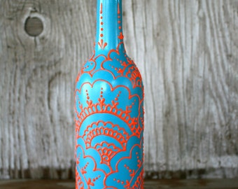 Hand Painted Wine bottle Olive Oil Dispenser, Turquoise and Coral Orange, Moroccan style design, Olive Oil Dispenser