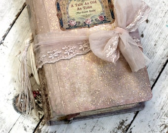 Fairytale wedding guest book, Blush pink, photo album, shabby chic wedding Photo booth album - 8.5x6 inch Made To Order
