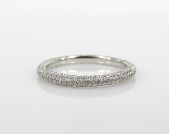 2.2mm Five Row Micro Pave Diamond Eternity Band in 18k White Gold