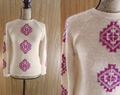 Vintage Women's 1960's Hippie Ethnic Tribal Native Aztec Printed Pullover Sweater, size Small