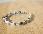 Hemp Bracelet - White Hemp Jewelry with Blue and White Sodalite Beads - Blue and White Bracelet - Hemp Products - Hemp Bracelet