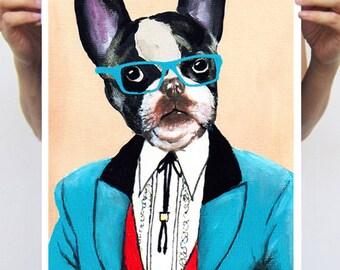 Animal painting drawing illustration portrait painting mixed media digital print POSTER 11x16: Gentleman bulldog