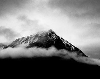 Epic Landscape Photography. Misty Mountains Scotland Panorama Black and White Print.
